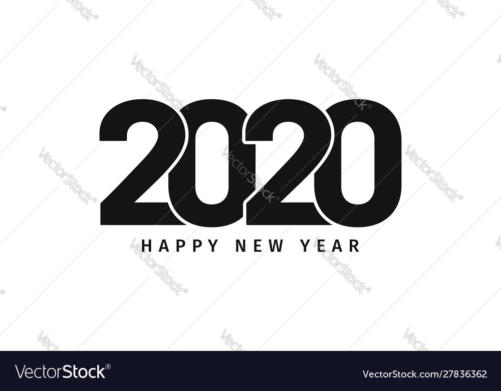 Happy new year 2020 text design happy new year