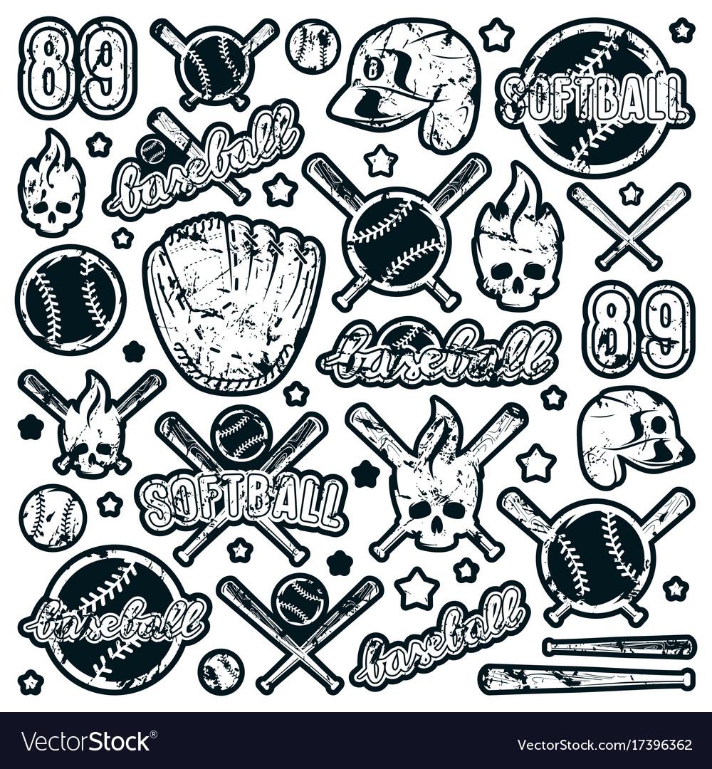 Icon and badge set of baseball and softball