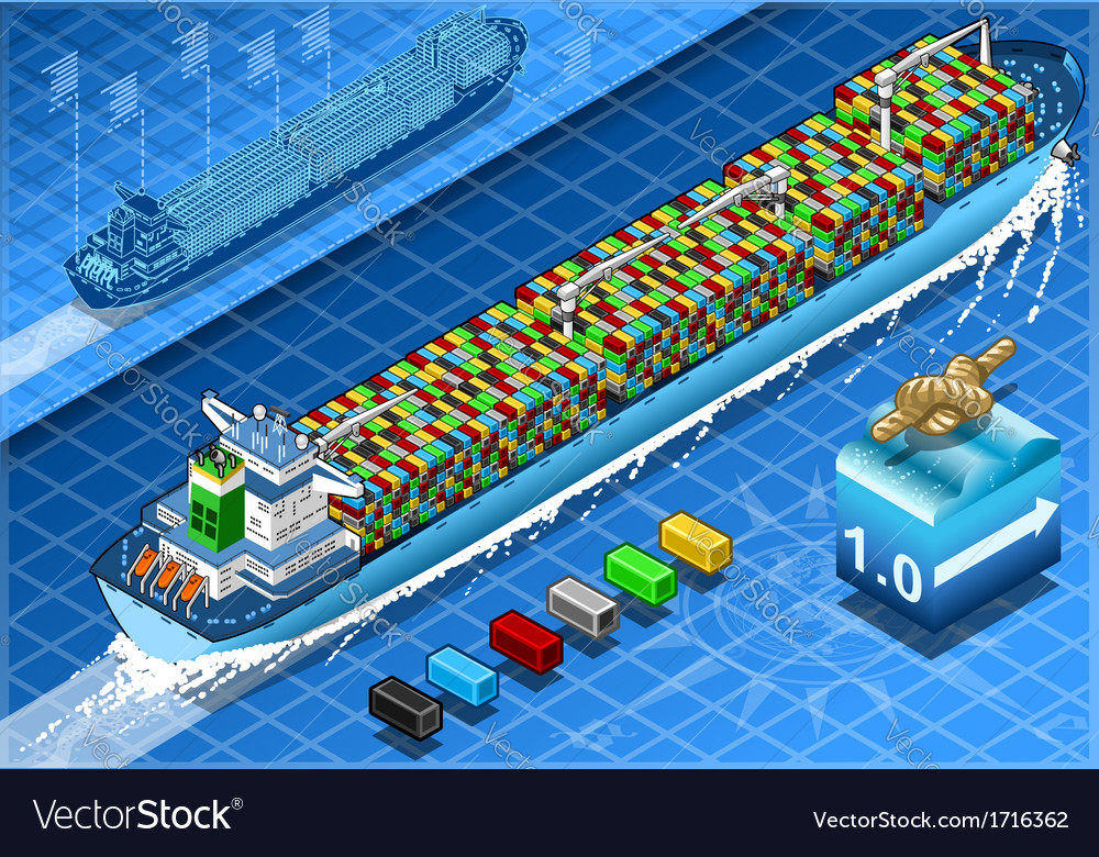 Isometric Cargo Ship with Containers in Navigation