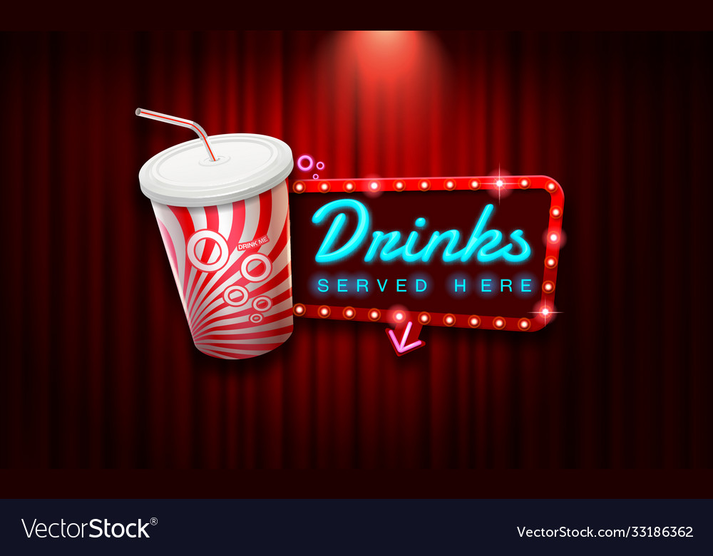 Light sign beverage on curtain with spotlight