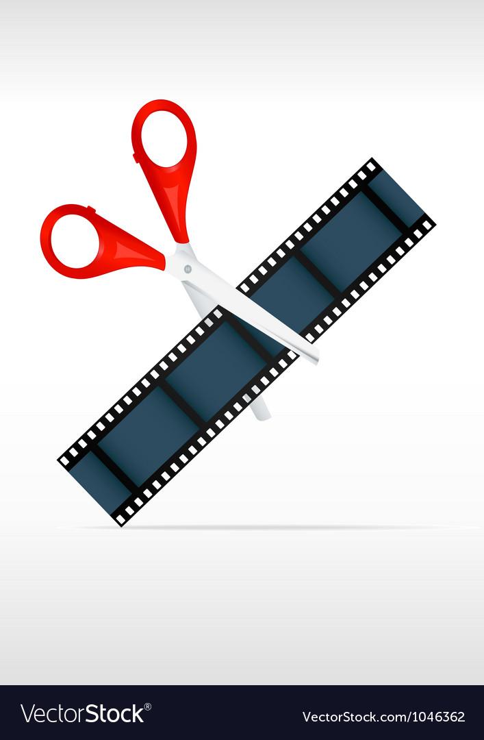 Scissors and film strip Video editing