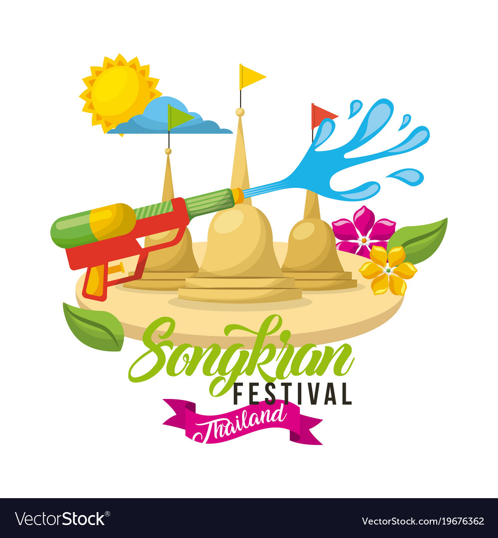Songkran festival thailand water fighter sunny day vector image