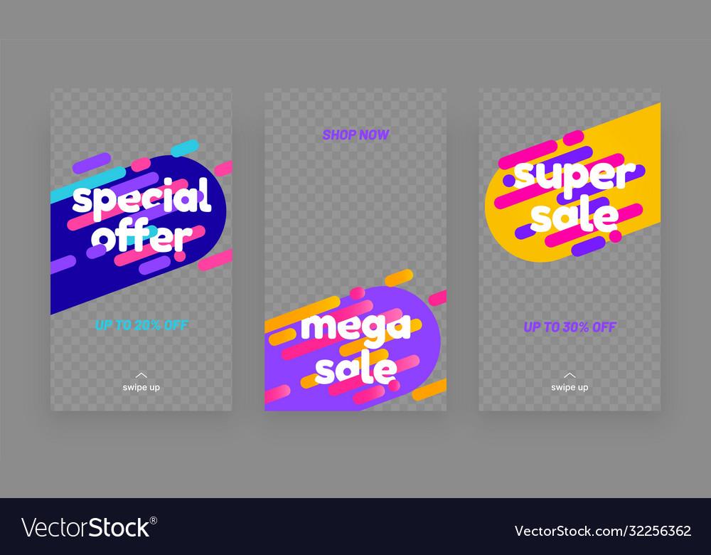 Stories template set for sale banner social media