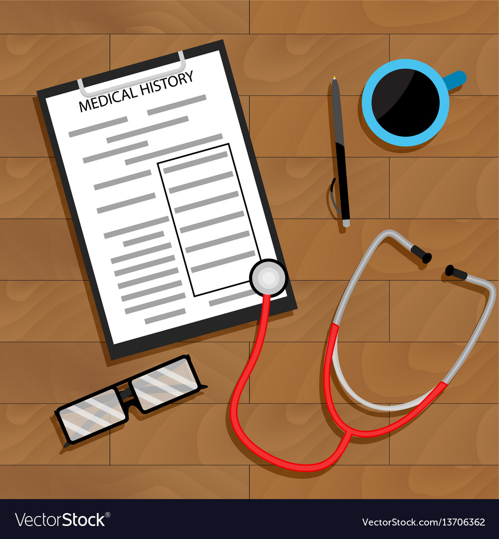 Workplace doctor top view vector image