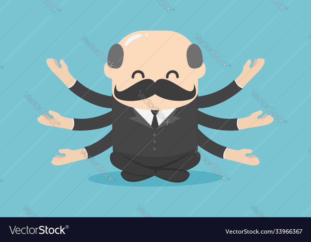 Boss businessman sitting for meditation and