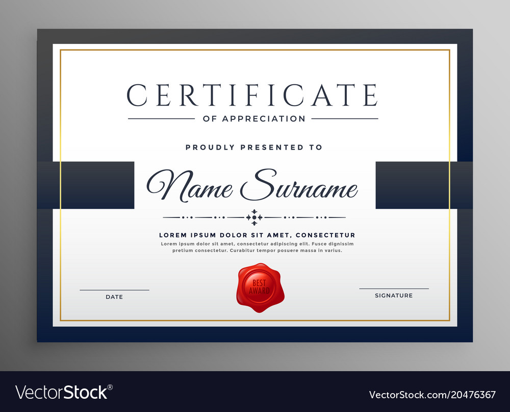 Clean modern certificate template design Vector Image