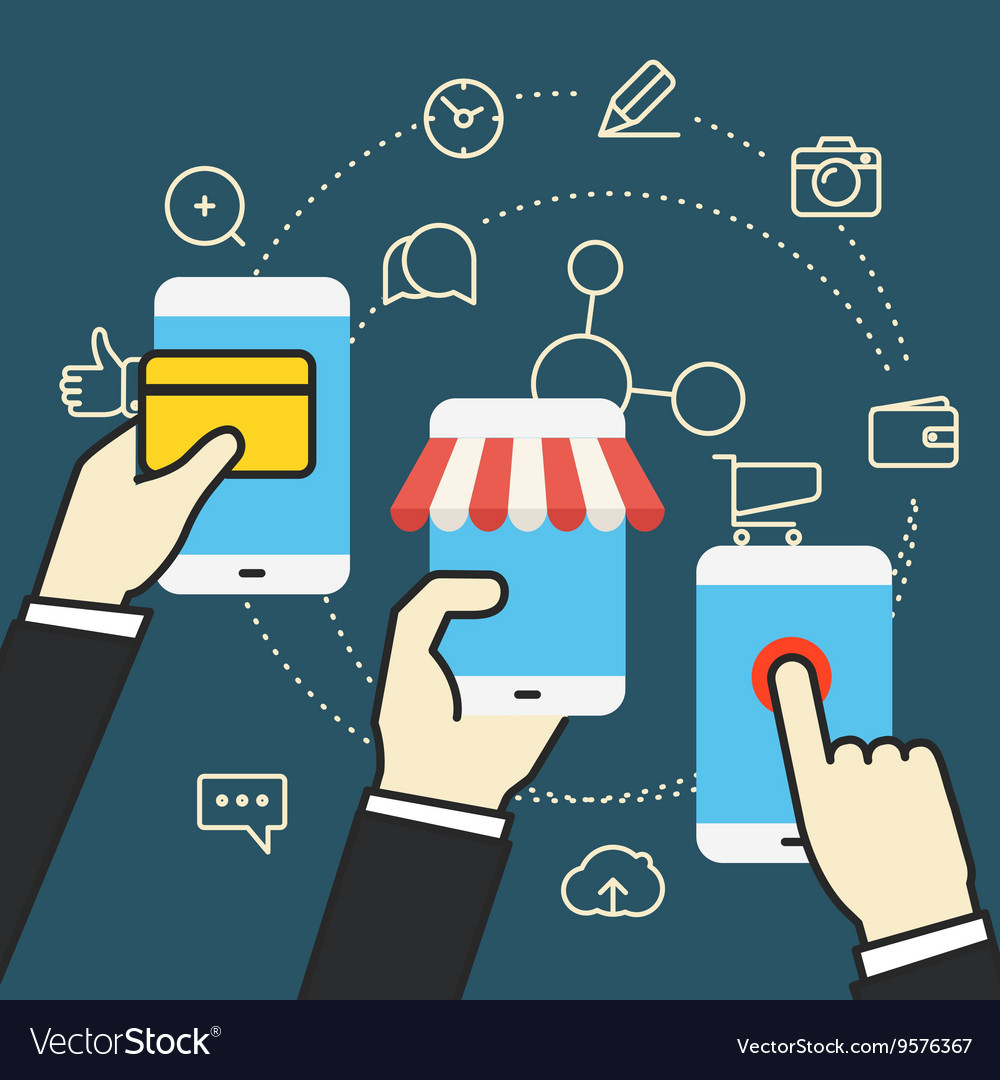 Digital commerce Online shopping with modern