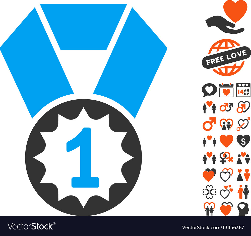 First place medal icon with lovely bonus vector image