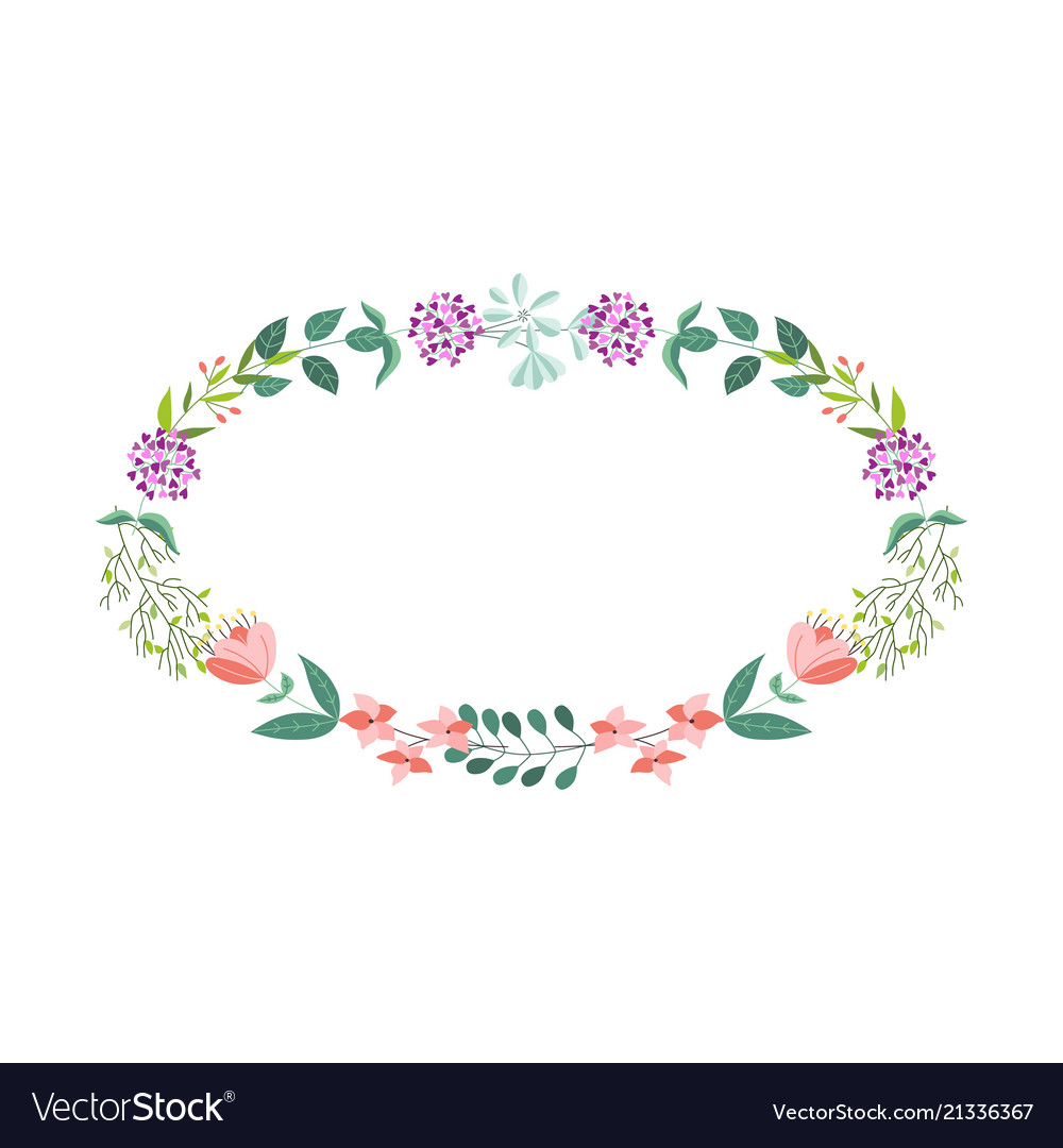 Flat abstract green plants flowers frame