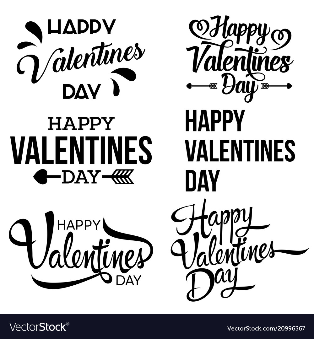 Happy valentine day handwritten lettering set