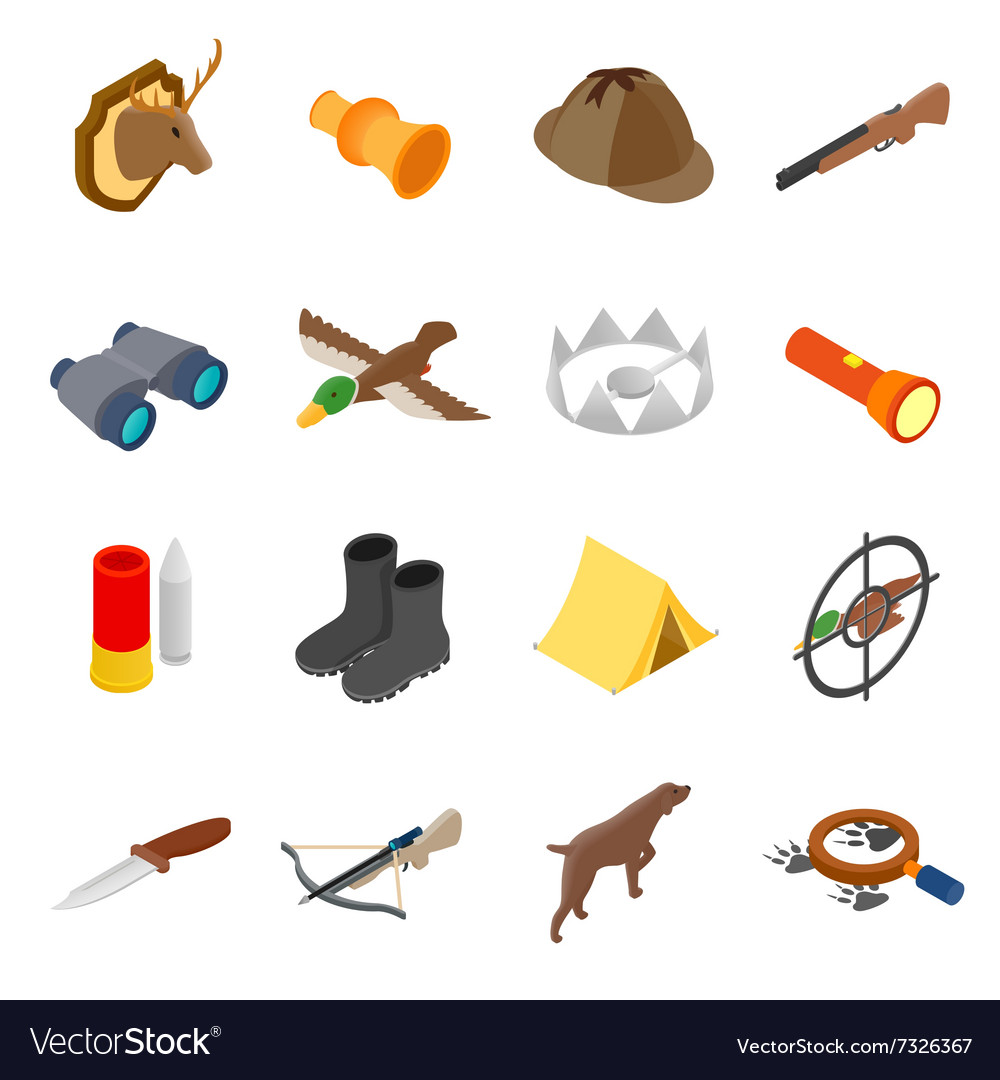 Hunting isometric 3d icons