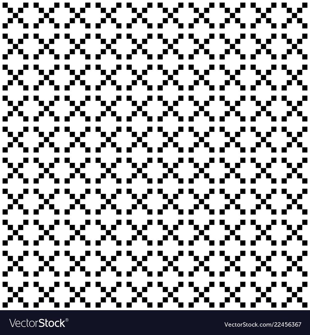 Pixel style seamless pattern white black