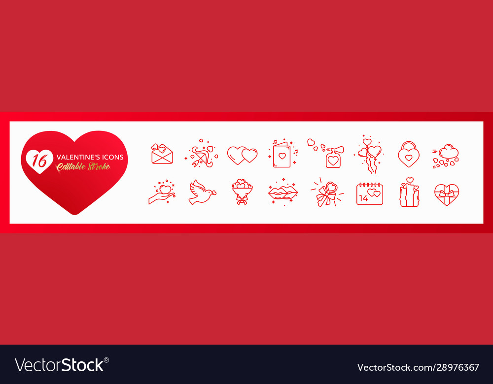 Set icons valentines day editable stroke