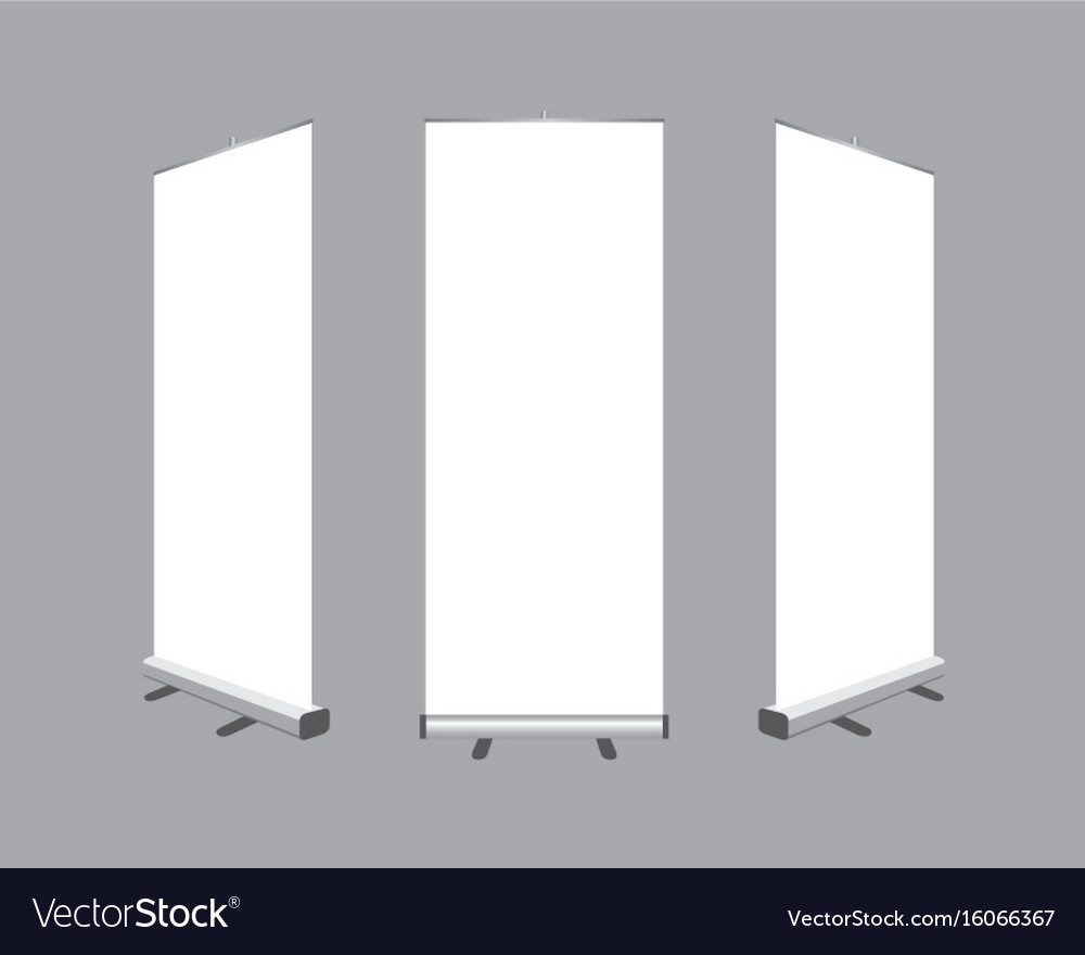 Set of blank roll up banners display