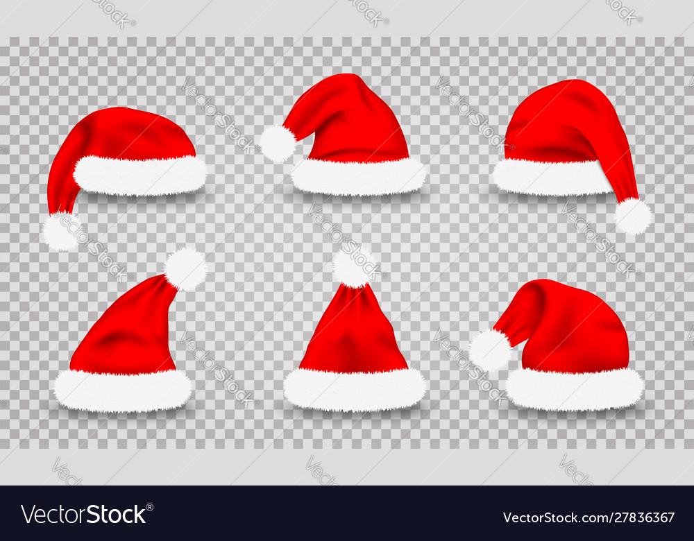 Set santa claus hats realistic red santa