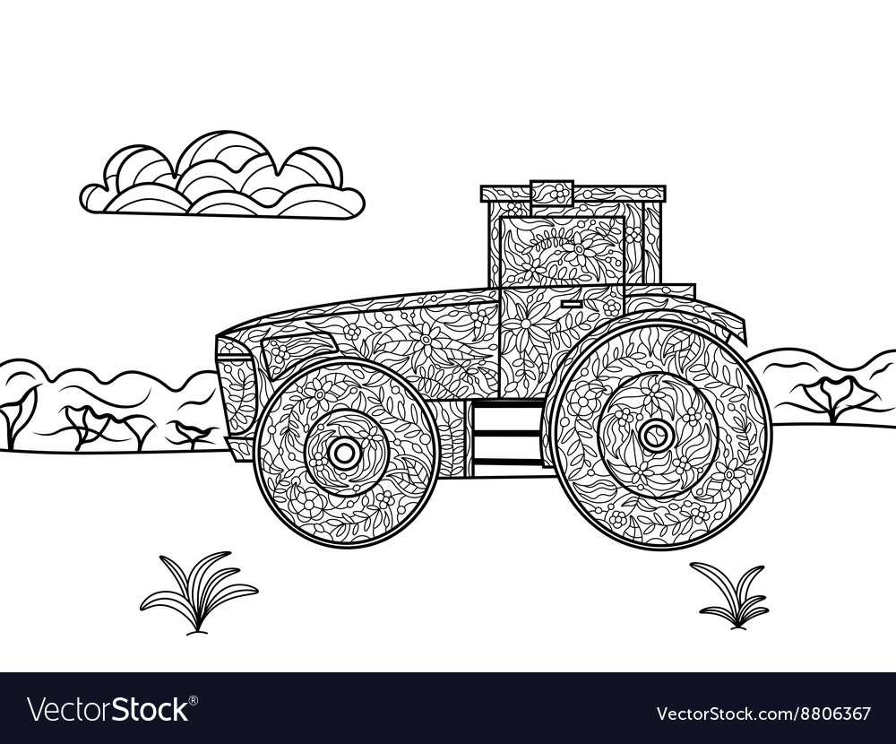 Tractor coloring book for adults Royalty Free Vector Image
