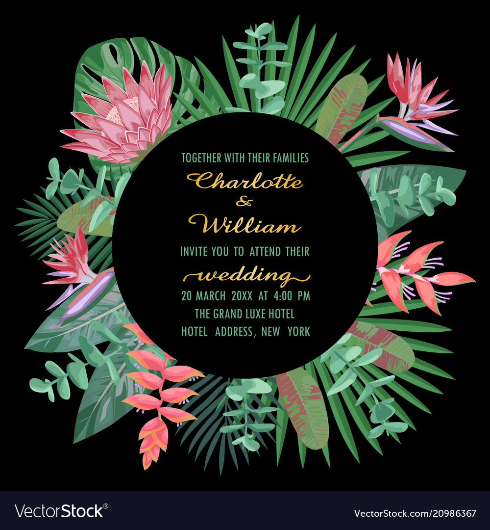 Tropical wedding invitation with round frame