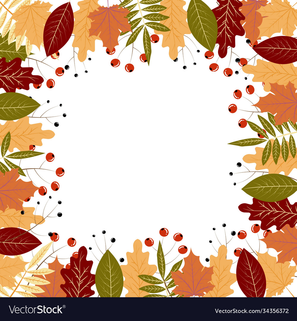 Autumn frame with colorful leaves and berries