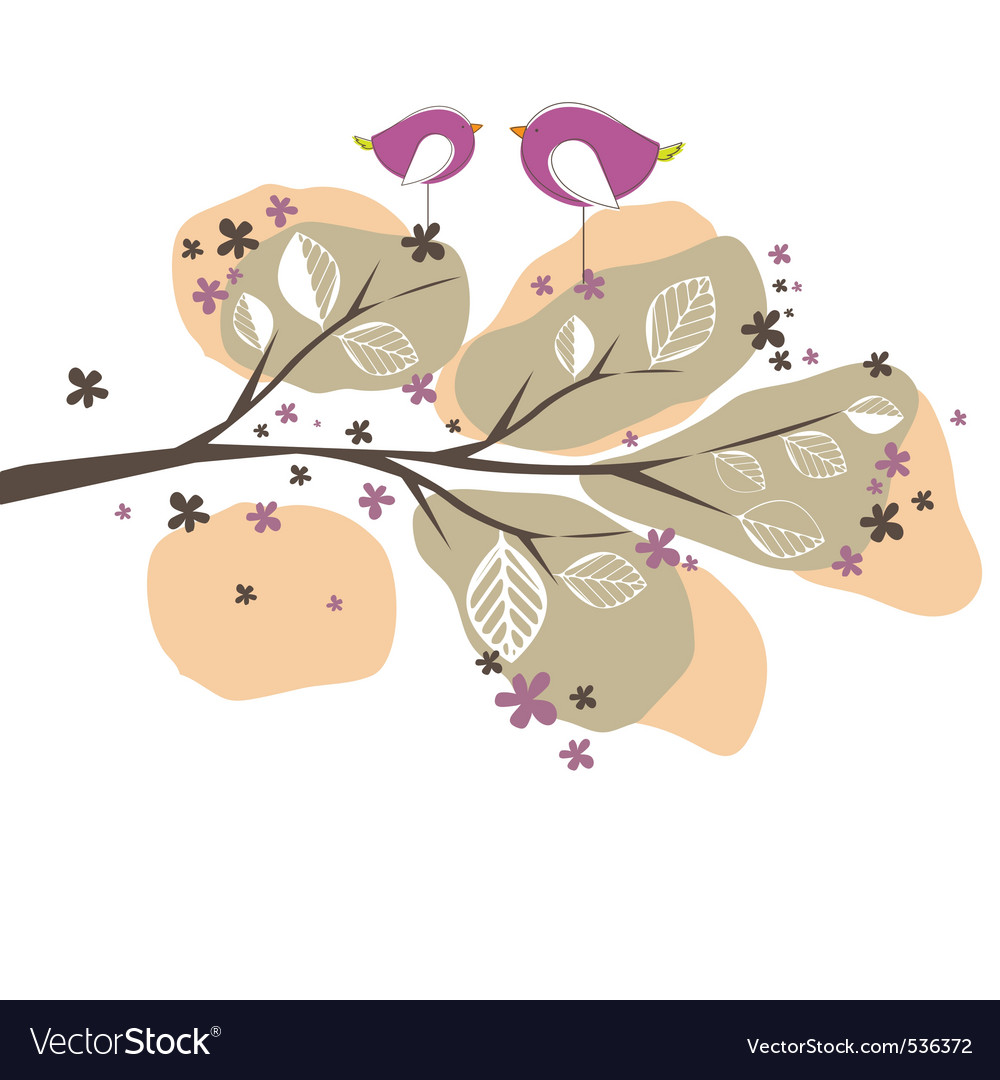 Background with birds tree vector illustration