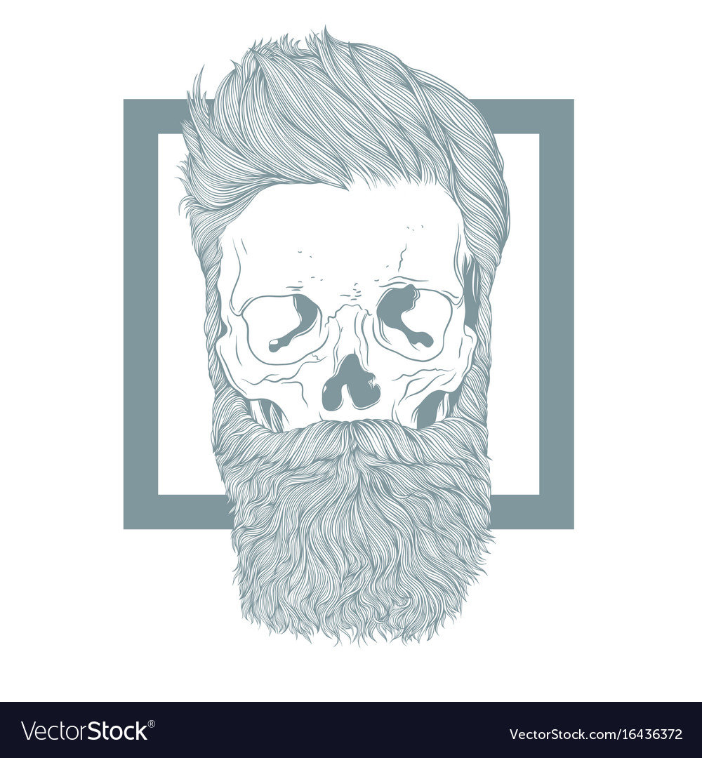 Bearded hipster skull with stylish hairstyle