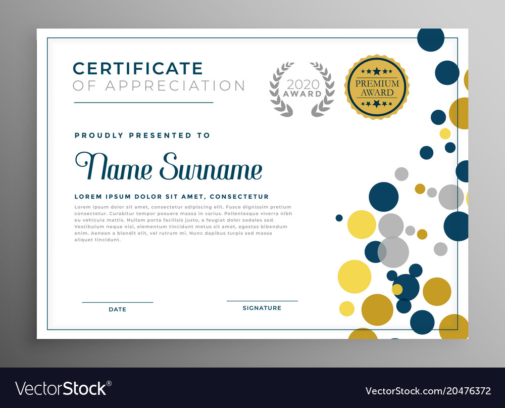 Creative circles certificate template design vector image yelopaper Image collections