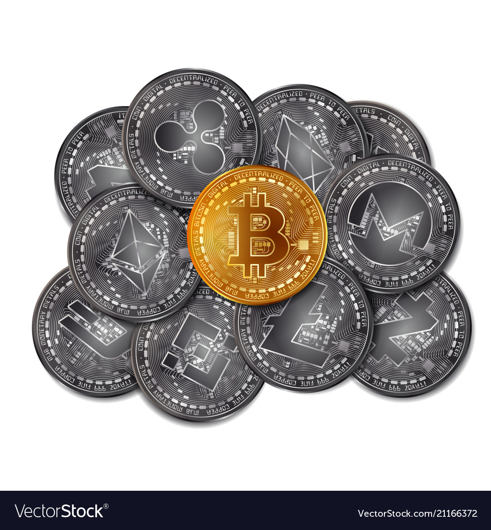 Cryptocurrency coins stack