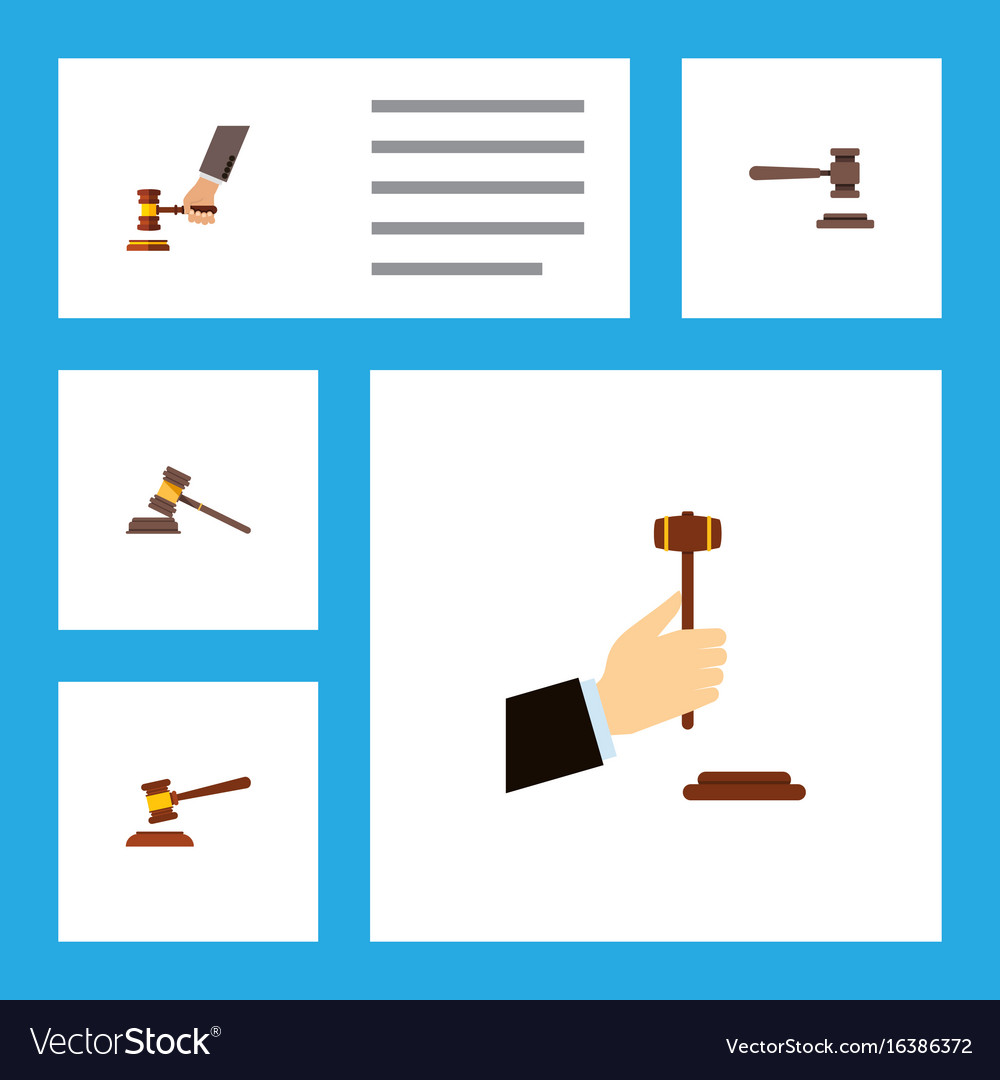 Flat icon court set of crime law hammer and
