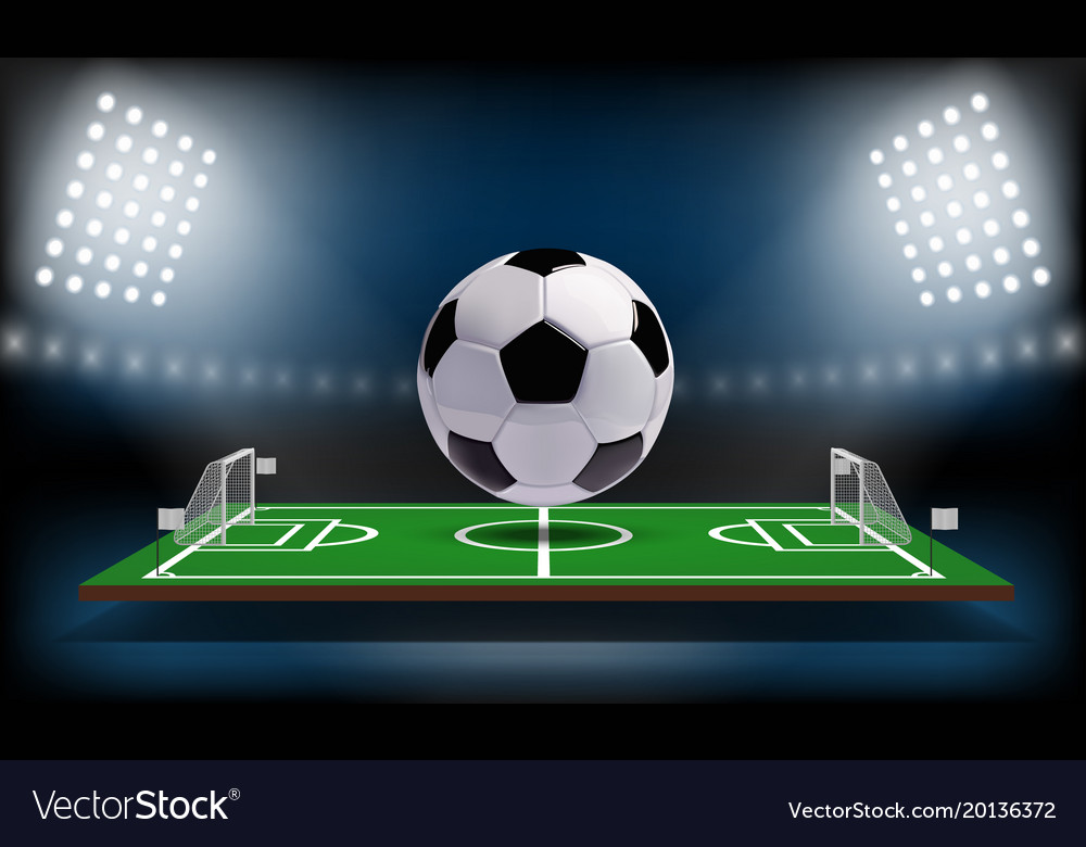 Football or soccer playing field 3d ball sport vector image