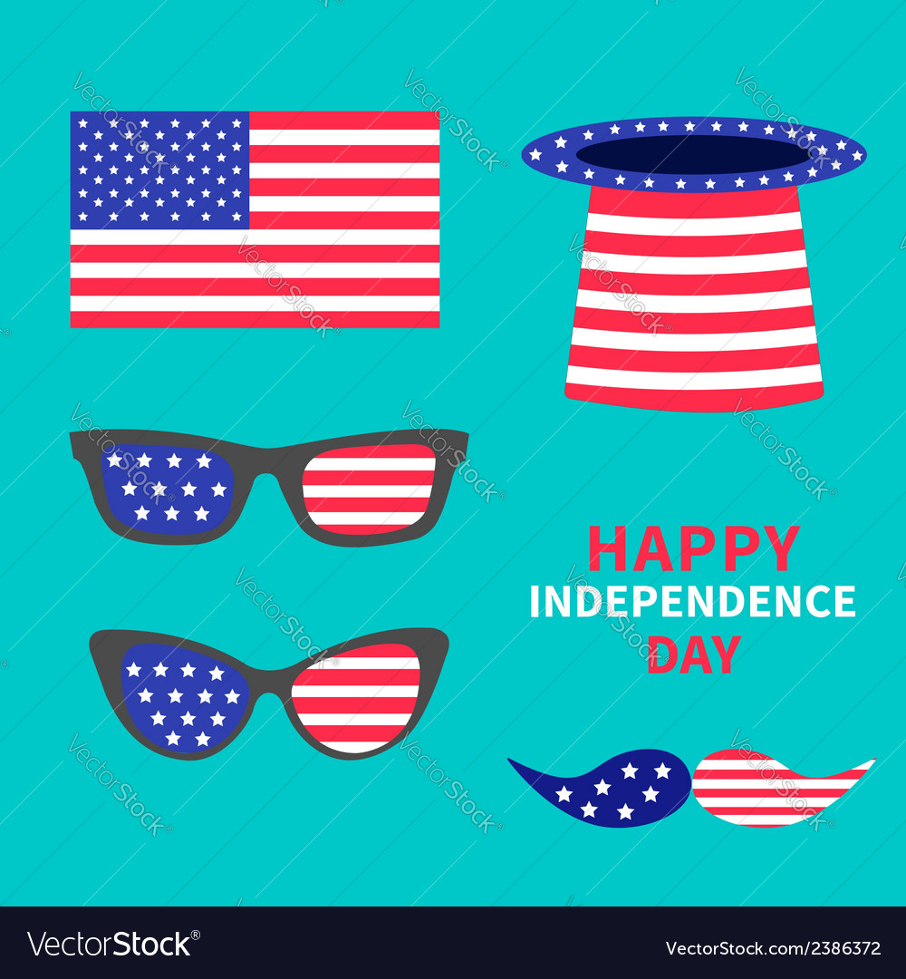 Glasses mustaches hat flag set Happy independence