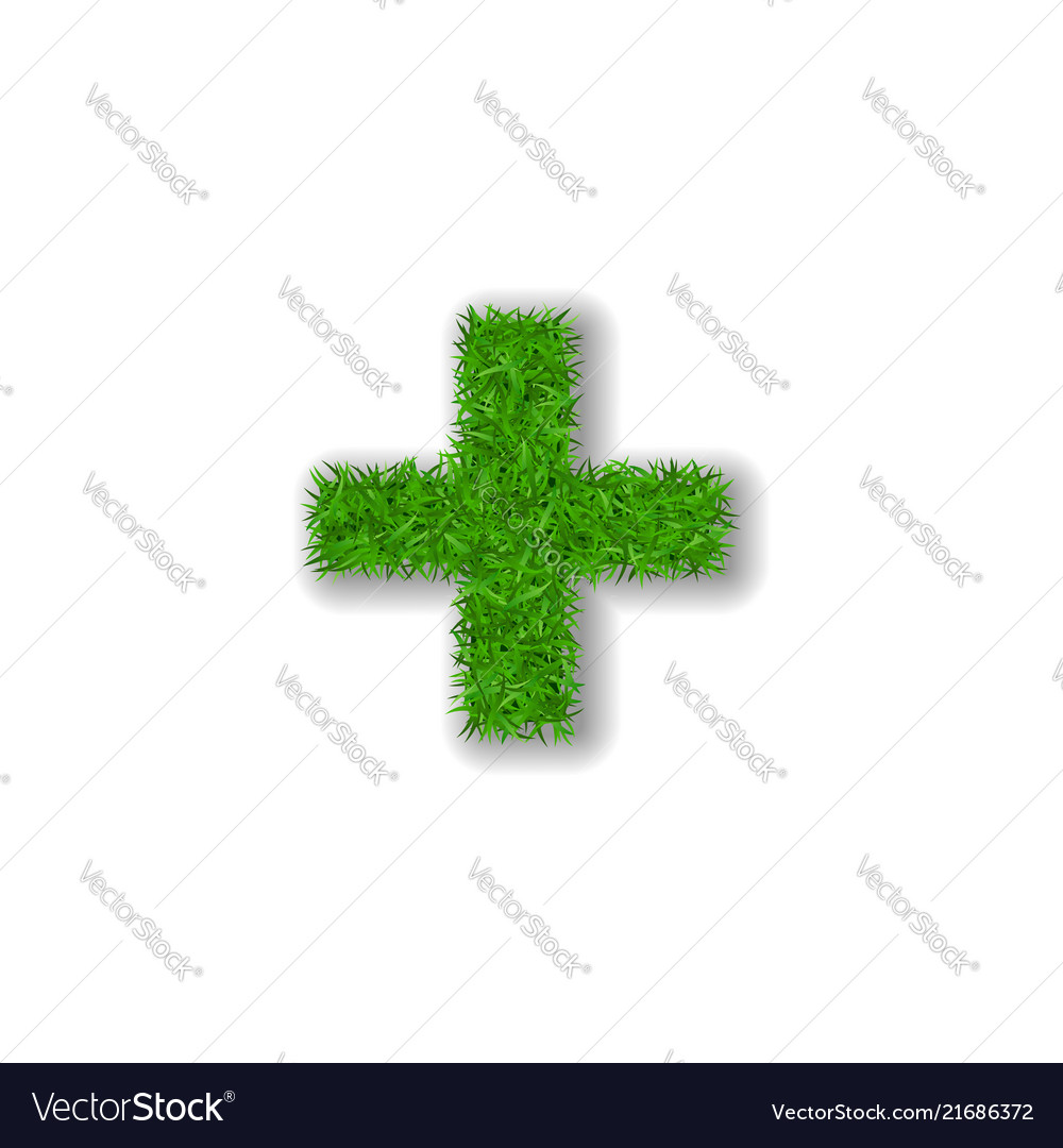 Grass symbol plus green plus isolated on white