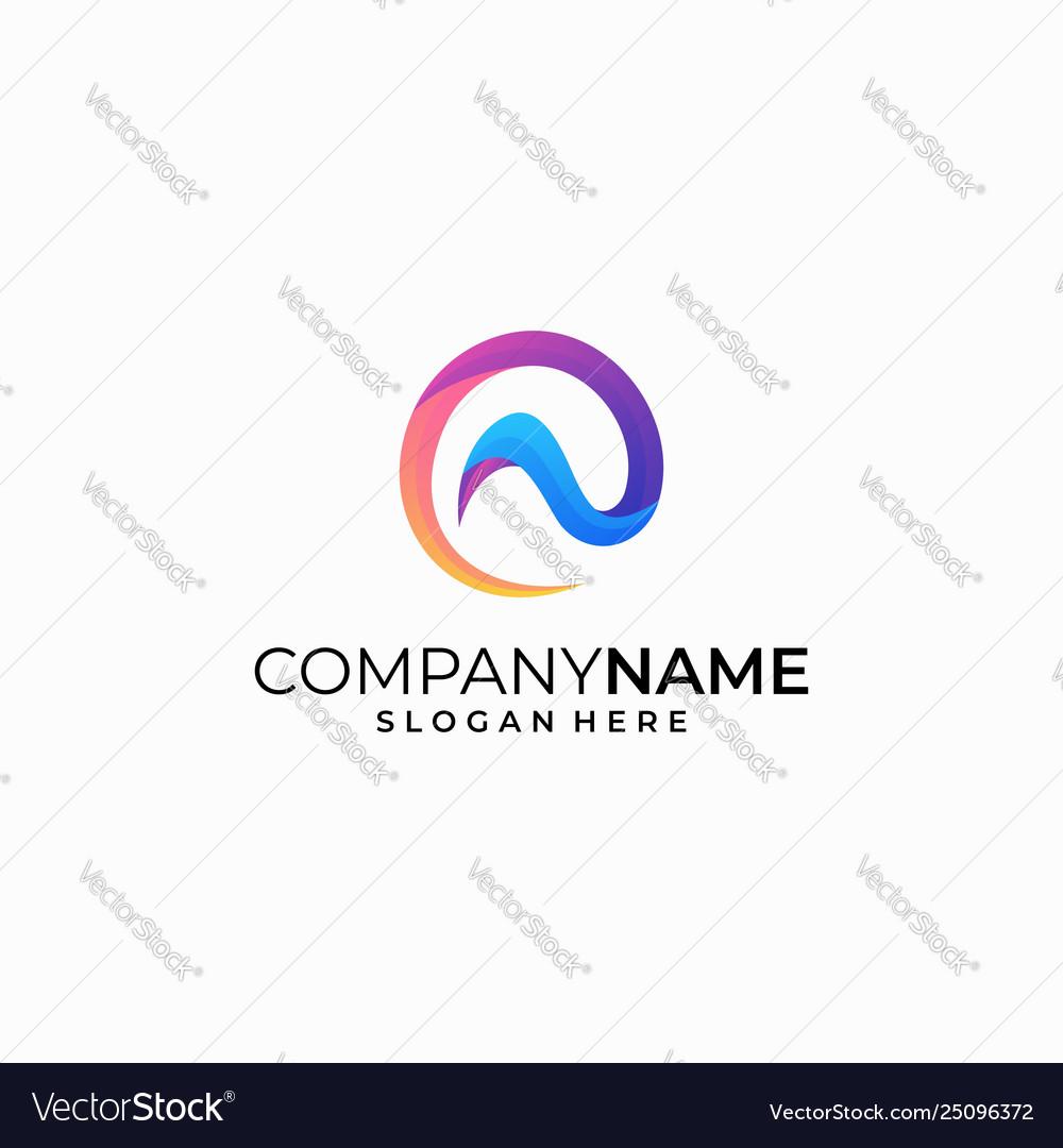 Letter n color concept design template