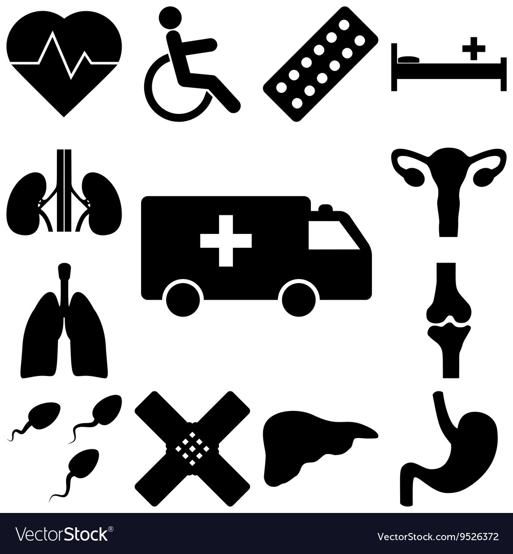 Medical signs set Flat style