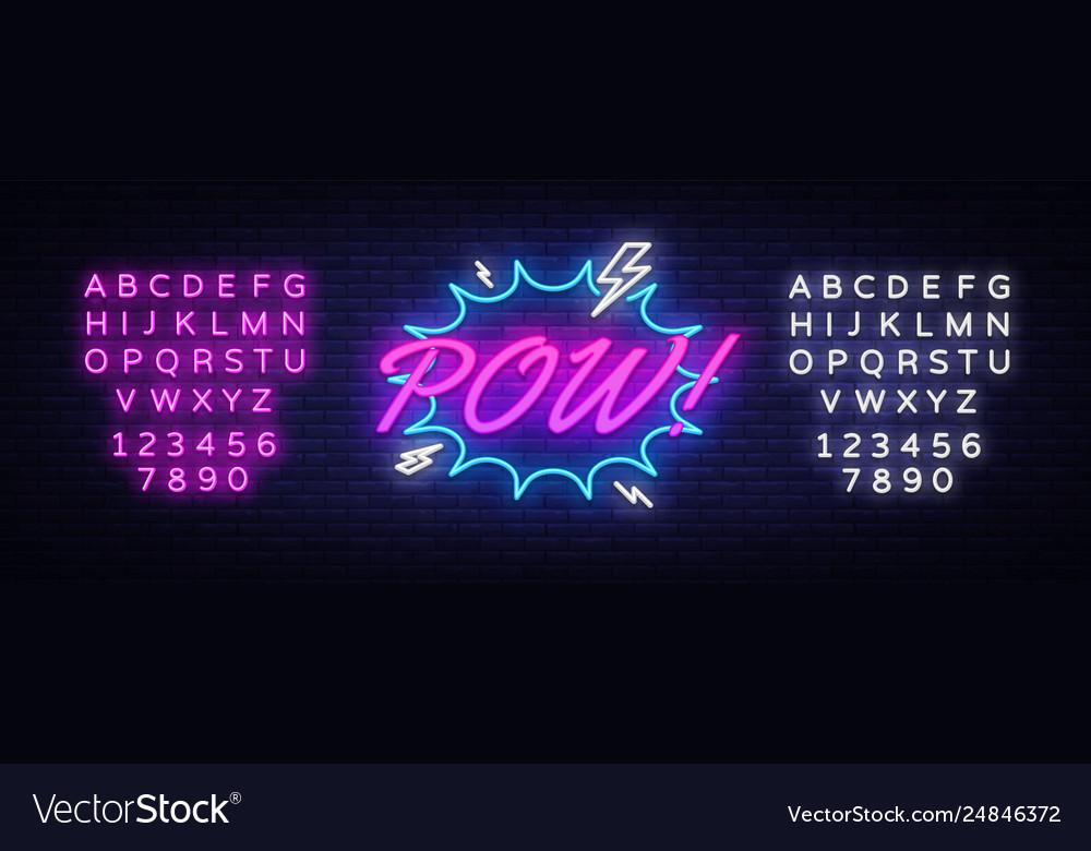 Pow neon text comic lettering pow neon