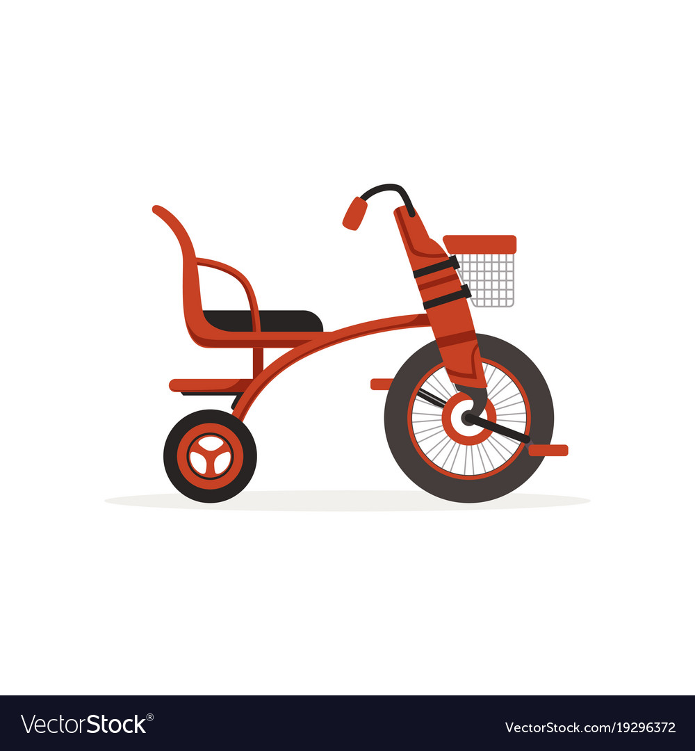 cf08d7a84ca Red tricycle for children kids bicycle Royalty Free Vector