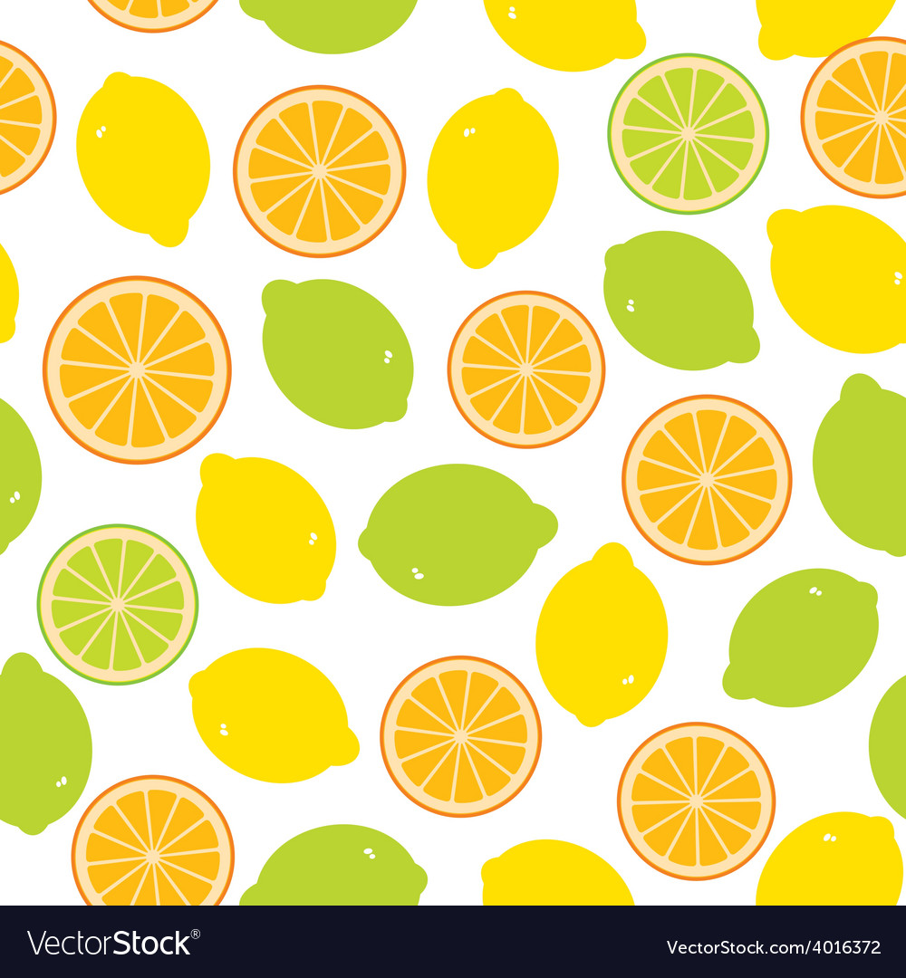 Seamless pattern with lemon lime orange on the