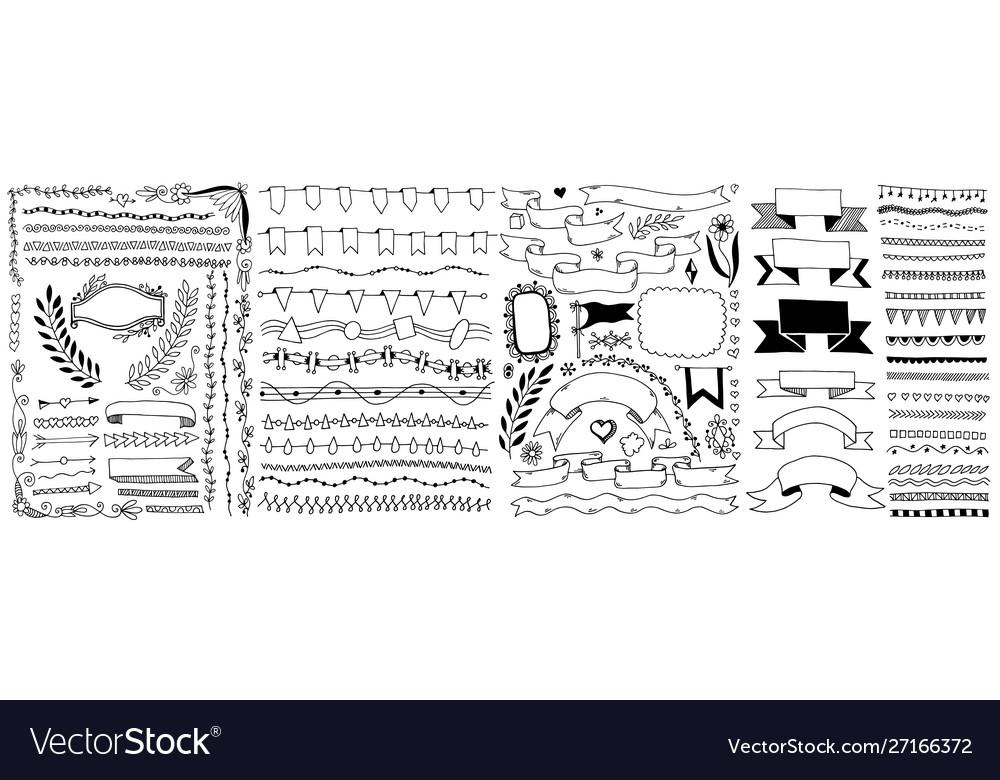 Set hand drawing doodle sketch design element