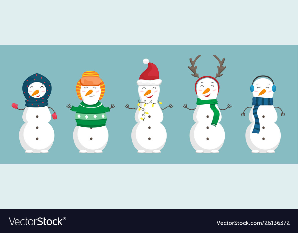 Set snowmen in christmas clothes