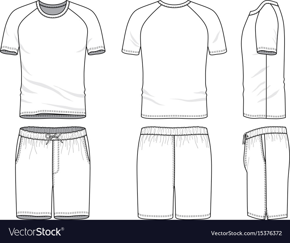 47101298aaf Templates of blank t-shirt and shorts Royalty Free Vector