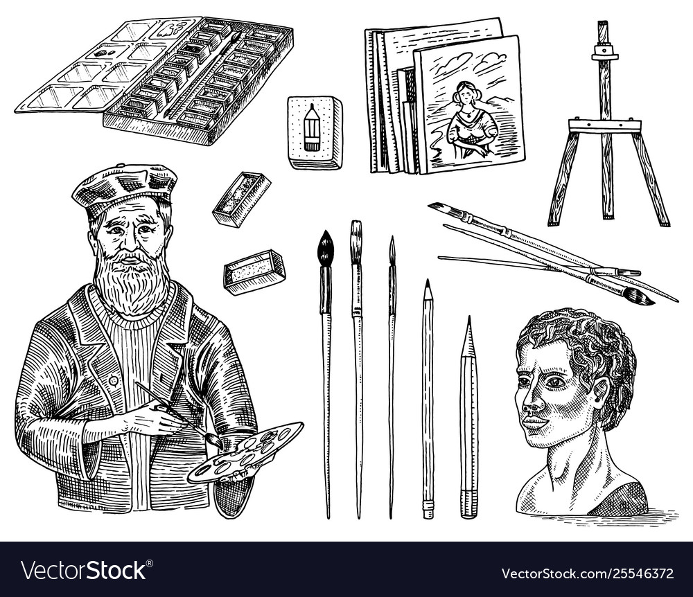 Tools and materials artist for drawing in