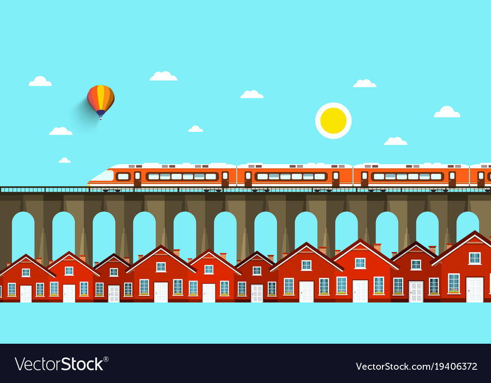Train on bridge abstract landscape city with
