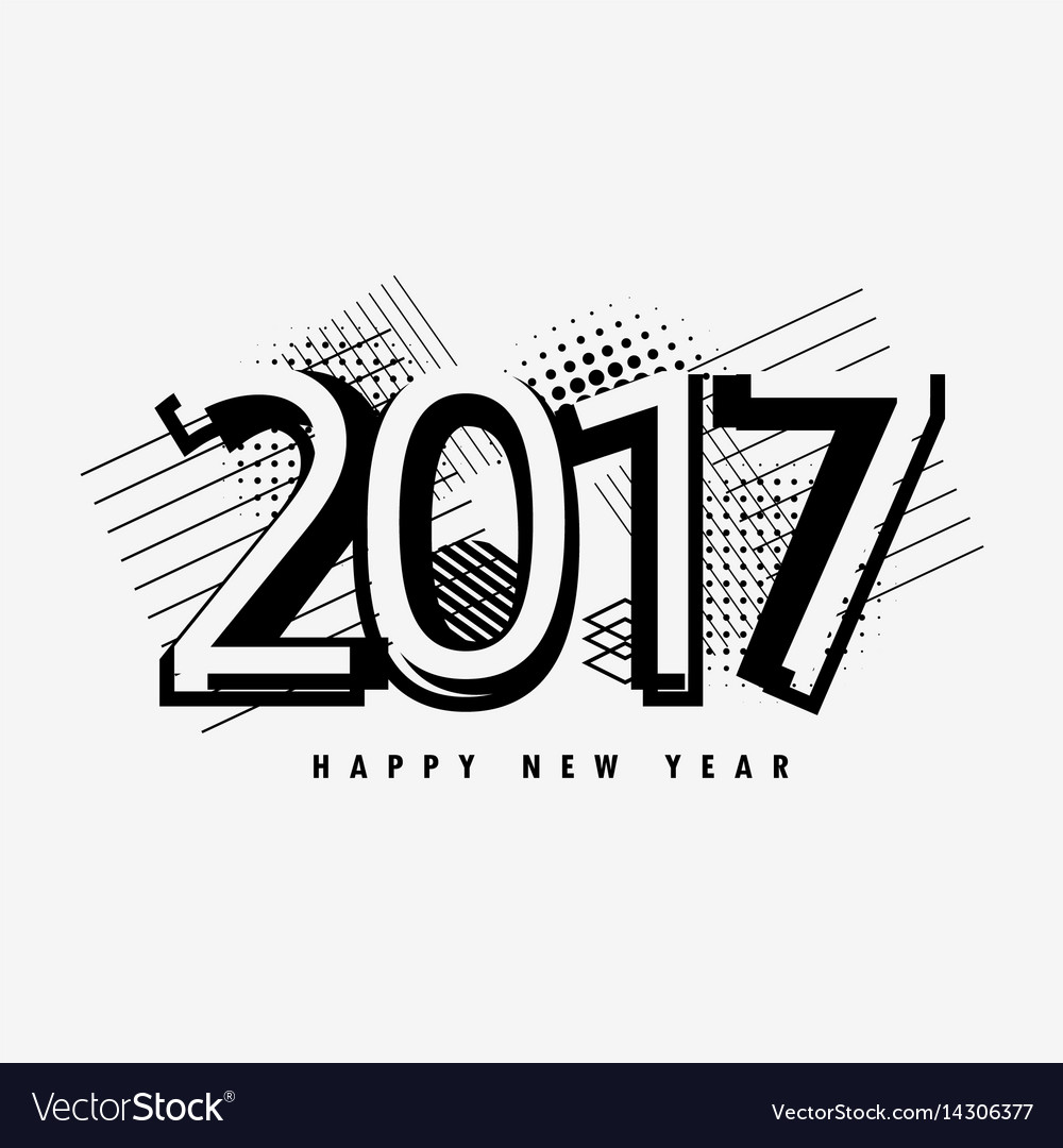 2017 text design with abstract shapes and elements vector image