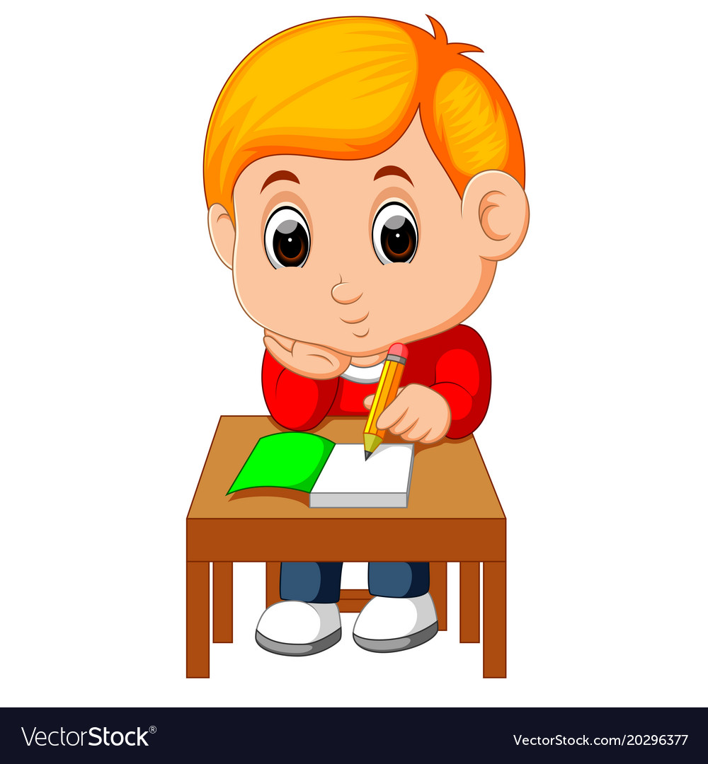 cute boy writing and thinking be happy royalty free vector