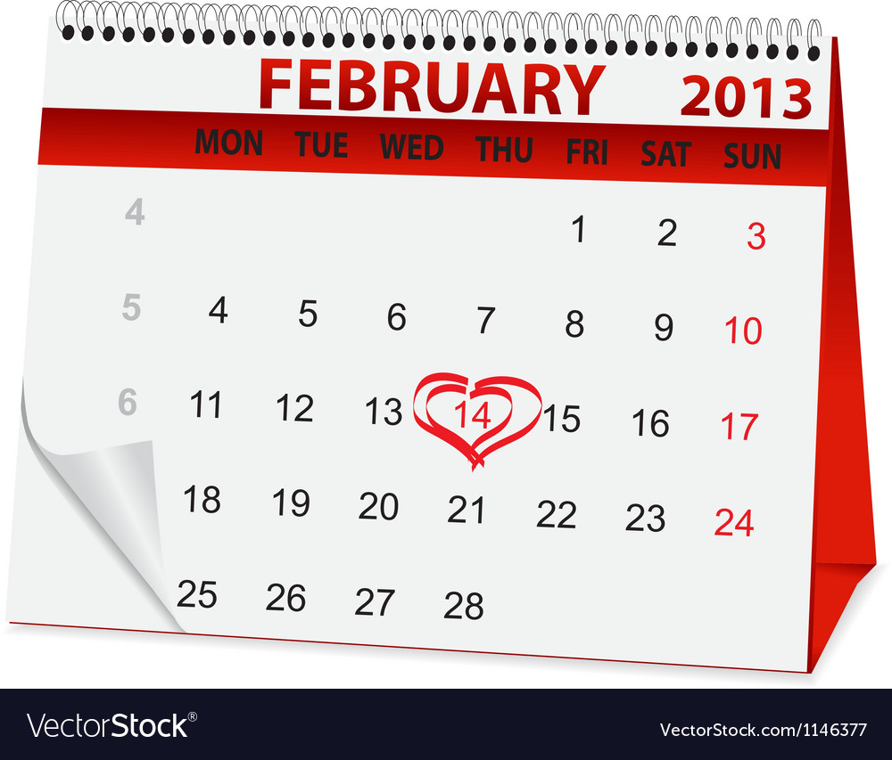 Holiday Calendar For Valentines Day Royalty Free Vector