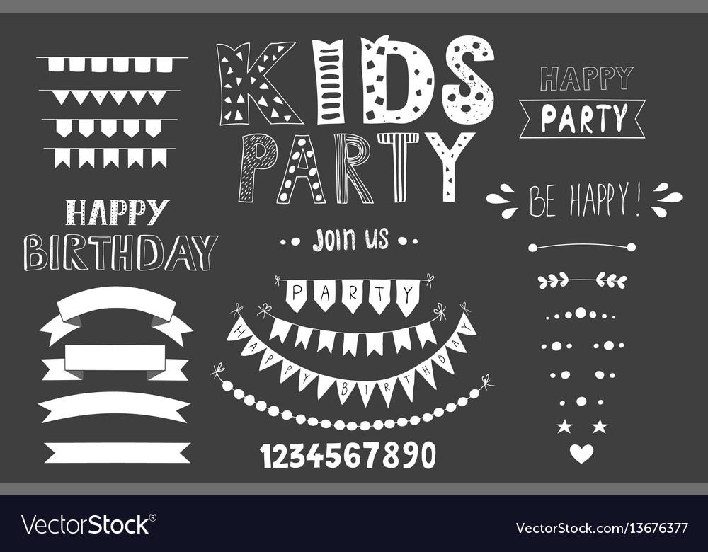 Kids party lettering party design elements