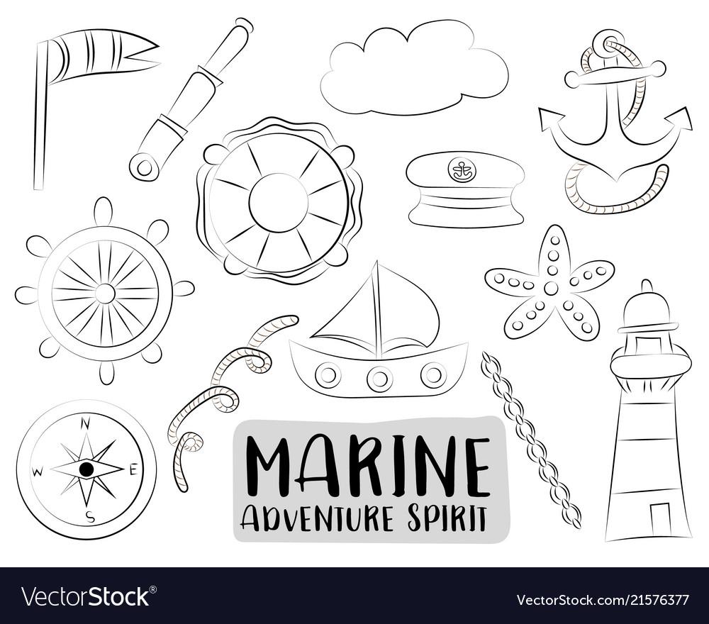 Marine nautical travel icons set black and white