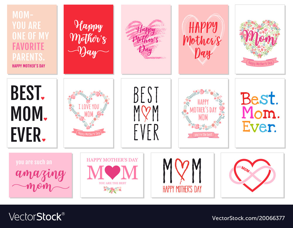 1070accd41 Mothers day cards set Royalty Free Vector Image