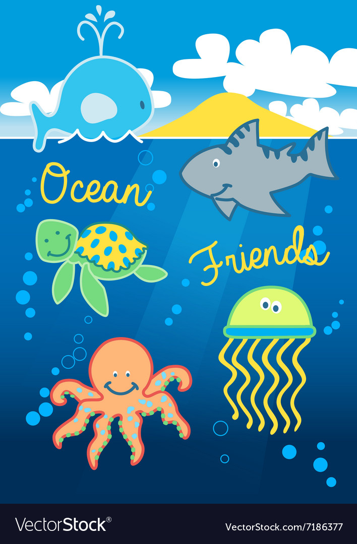 Ocean friends swimming under the sea with island vector image