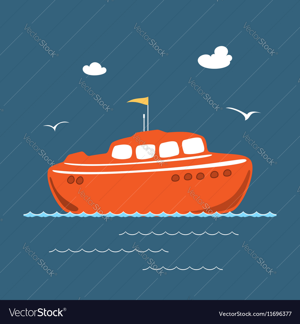 Orange Lifeboat Marine Rescue Vessel vector image