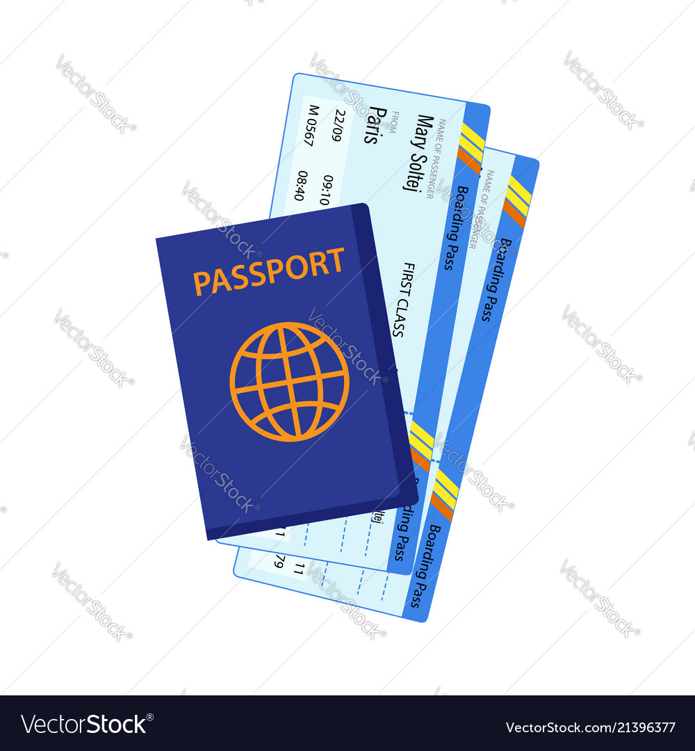 Passport with tickets air travel concept