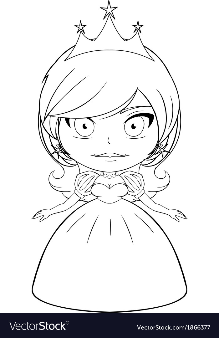 princess coloring page 2 vector image - Princess Coloring Page 2